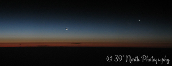 Moon and Venus on flight between Kuwait and London